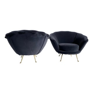 Scalloped Shell Back Lounge Chairs - a Pair For Sale