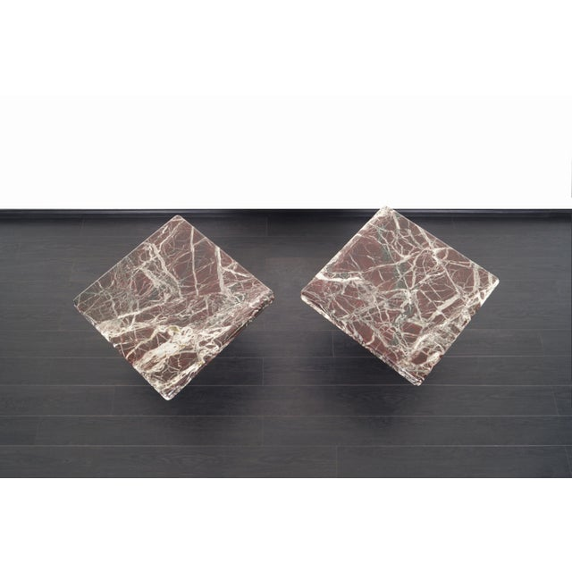 Stone Vintage Italian Marble Side Tables - a Pair For Sale - Image 7 of 11