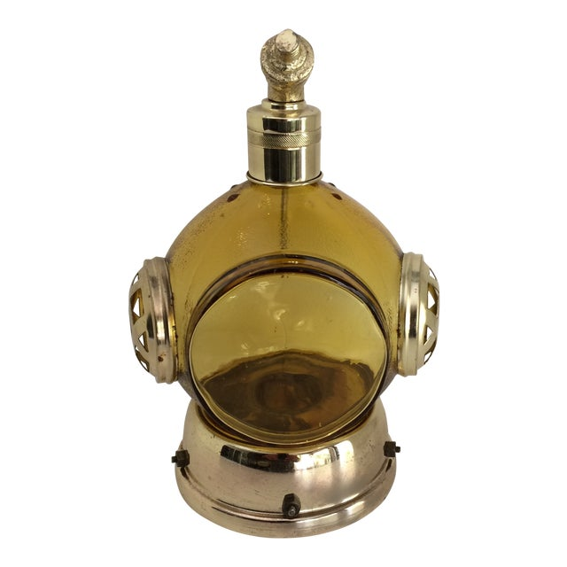 Vintage Amber Glass and Brass Music Box Diving Helmet Decanter For Sale
