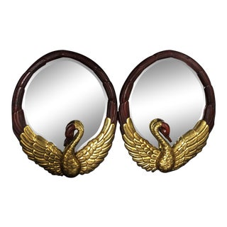 Hollywood Regency Oval Mirrors With Gold Gilt Swan Figures -A Pair For Sale