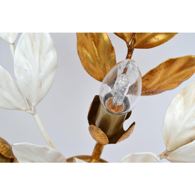 Mid-Century Modern Willy Daro Style Belgium Brass & Enamel Flower Flush Mount in Gold White Finish For Sale - Image 3 of 10