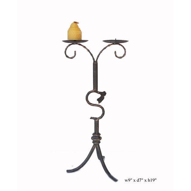 Decorative Metal Bronze Table Top Candle Holder For Sale - Image 4 of 5