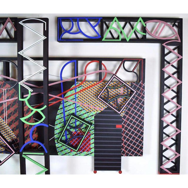 """Steve Grossman (New York, 20th C.) """"Latticed Planes Two"""", 1991, abstract 3-dimensional composition, wood, paint, canvas...."""