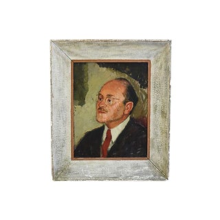 1940s Distinguished Gentleman Portrait Oil Painting