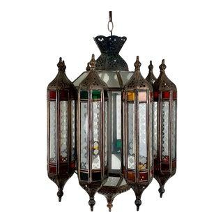 Moroccan 3 Light Multi Color Lantern For Sale