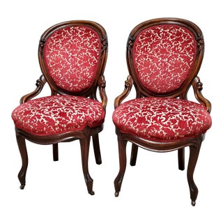 Victorian Style Red Velvet Floral Accent Chairs - a Pair For Sale