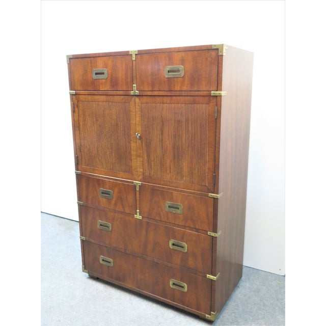 Mid Century Modern Fruitwood Campaign Chest of Drawers For Sale - Image 9 of 9