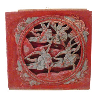 Antique Chinese hand carved wall hanging with Warriors