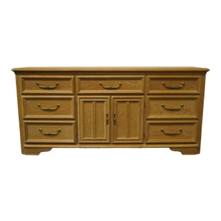 "Stanley Furniture Pickled Oak 70"" Triple Door Dresser For Sale"