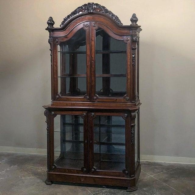 19th Century French Napoleon III Period Mahogany Bookcase ` Vitrine For Sale - Image 11 of 11