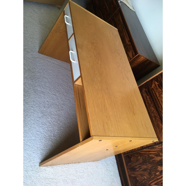 Brown Danish Modern Mid-Century Teak & White Two-Drawer Desk For Sale - Image 8 of 13