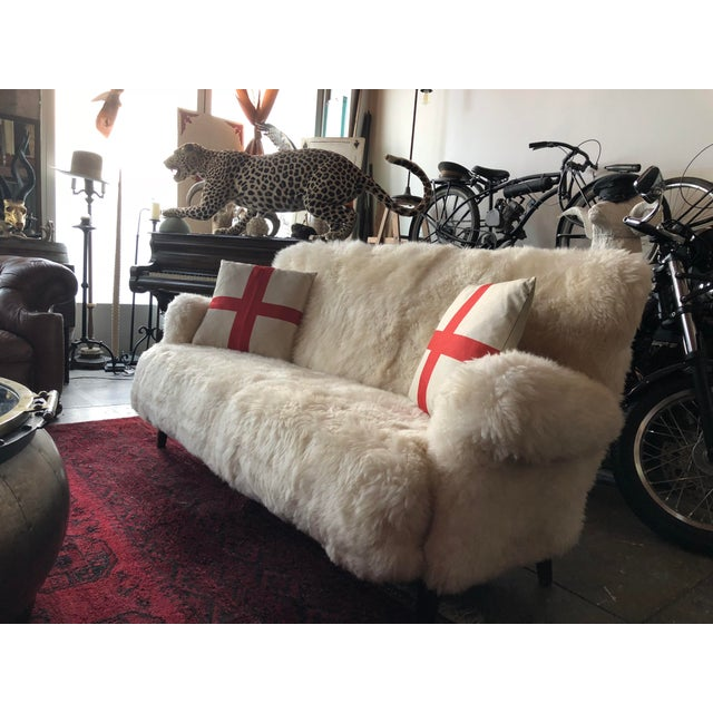 White Mongolian Wool Sofa For Sale In Los Angeles - Image 6 of 13