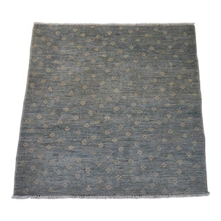 Contemporary Sea Green Tibetan Square Wool Rug- 9' 8'x6'11 For Sale