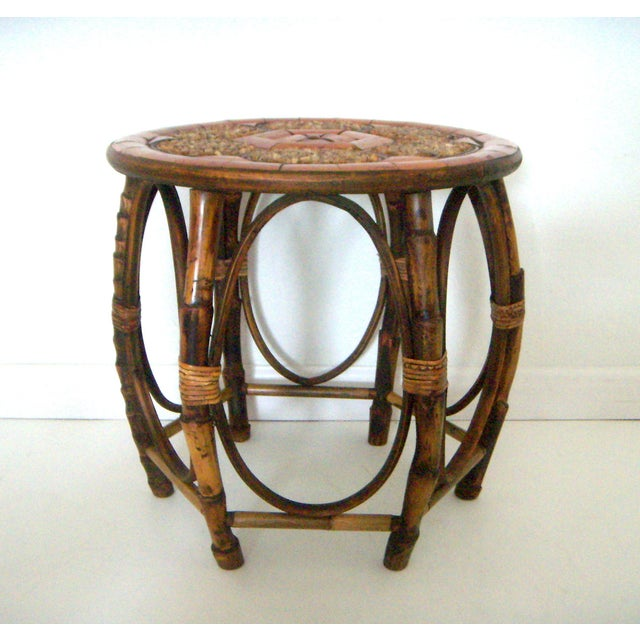 Vintage Mid Century Stone and Burnt Bamboo Round Drum Drinks or Side Table For Sale - Image 4 of 6