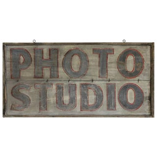 "Large Antique Hand Painted Sign ""Photo Studio"" For Sale"