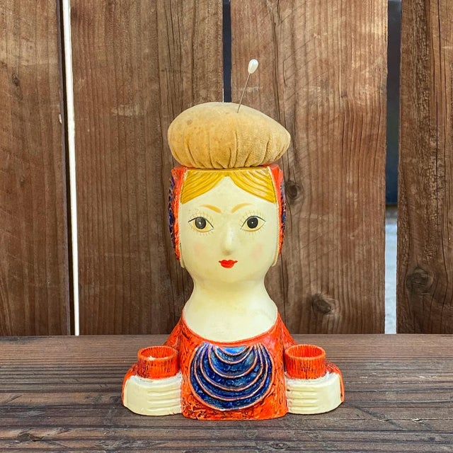 Gemma Taccogna Paper Mache Lady Pin Cushion Doll For Sale - Image 9 of 9