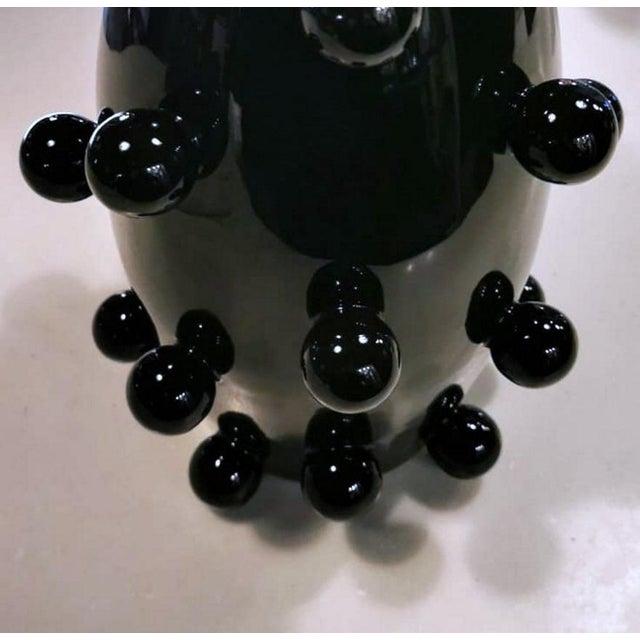 Black Polished Handmade Ceramic Sculpture Vase For Sale - Image 6 of 13