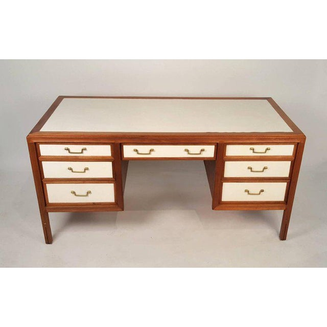 Unusual walnut campaign desk with leather top and drawers by Gerry Zanck for Gregori. Solid brass hardware. Solid...
