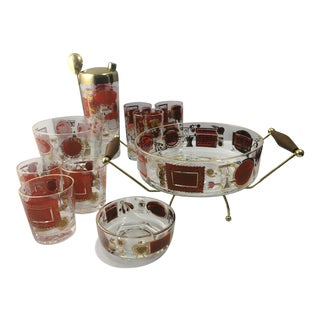Mid-Century Jeannette Glass Barware Set of 11 For Sale