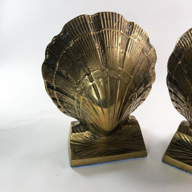 Vintage Mid-Century Brass Clamshell Bookends - a Pair For Sale - Image 4 of 7