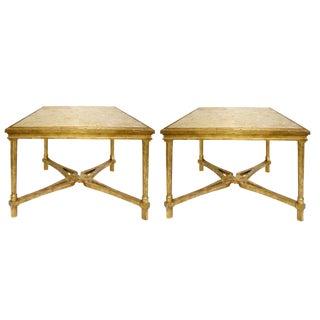 Pair of Regency Style Gilt-Wood Designer Marbella End or Side Table by Randy Esada For Sale