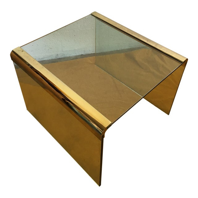 Vintage Leon Rosen Glass and Brass End Table for Pace Collection - Image 1 of 10