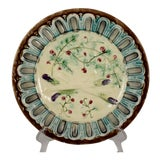 Image of French Faïence Majolica Gothic Border Asparagus Plate For Sale