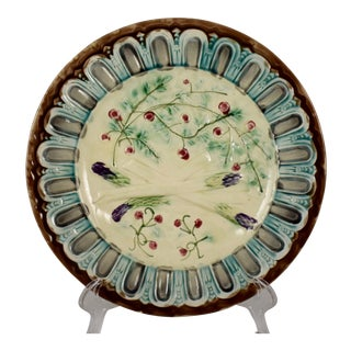 French Faïence Majolica Gothic Border Asparagus Plate For Sale