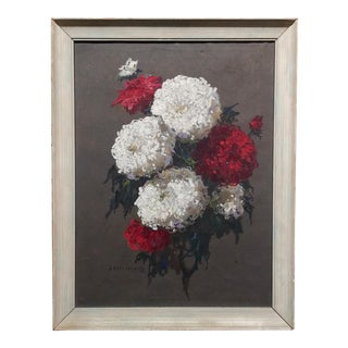 Stephan Fedorovic Kalesnikoff -Bouquet of Chrysanthemums-Oil Painting-Russia C.1920s For Sale