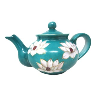 1940s Japanese Tea Pot in Teal Green White Lotus Flowers For Sale