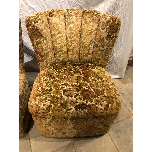 Hollywood Regency 1960s Vintage Velvet Slipper Chairs - a Pair For Sale - Image 3 of 9