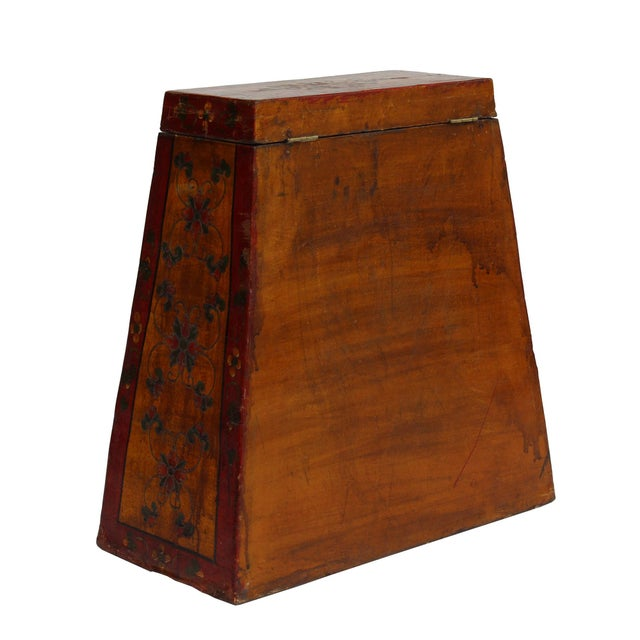 Asian Chinese Tibetan Red Yellow Floral Graphic Trunk Box Table For Sale - Image 3 of 9