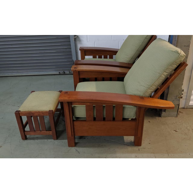 Adirondack Stickly Bow Back Chairs With Foot Stool - 2 Pieces For Sale In New York - Image 6 of 6
