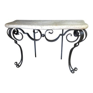 Custom Italian Iron Scroll Console For Sale