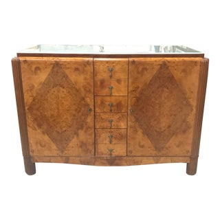 1940s French Art Deco Burl Walnut & Glass Top Sideboard /Buffet For Sale