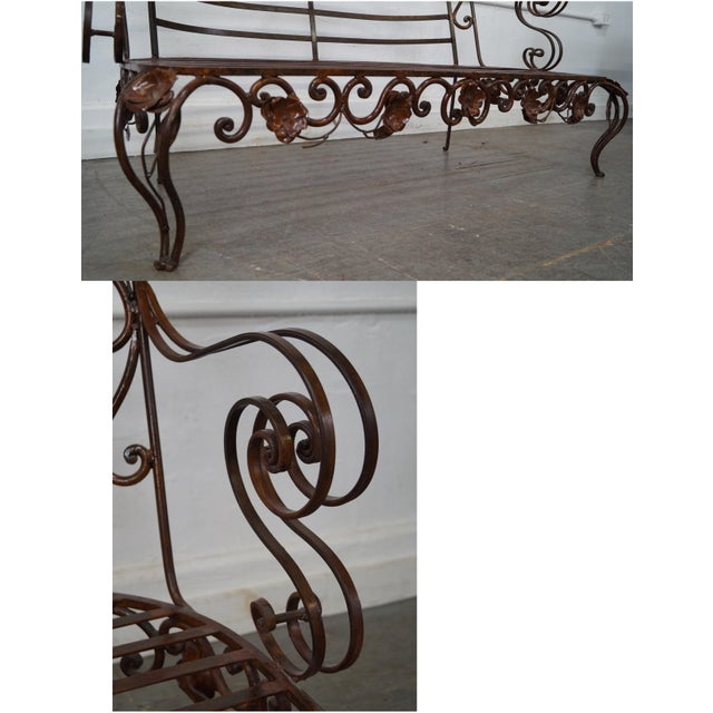 Ornate Wrought Iron Rococo Style Settee With Cushions For Sale - Image 10 of 10