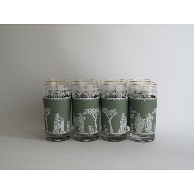 Neoclassical High Ball Glasses & Caddy - Set of 9 - Image 3 of 9