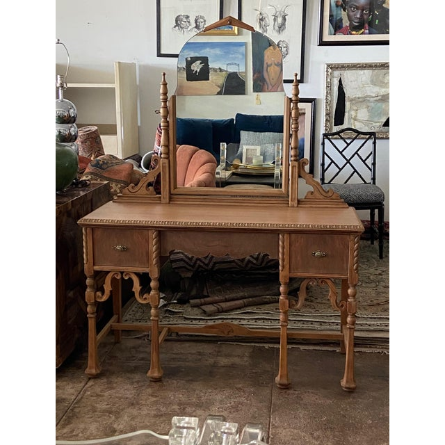 Vintage Victorian Style Karpen Vanity With Mirror For Sale - Image 12 of 12