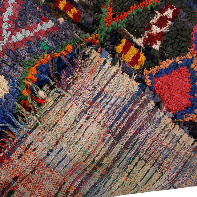1950s Vintage Moroccan Berber Geometric Red Blue and Black Fabric Tribal Rug For Sale - Image 5 of 6