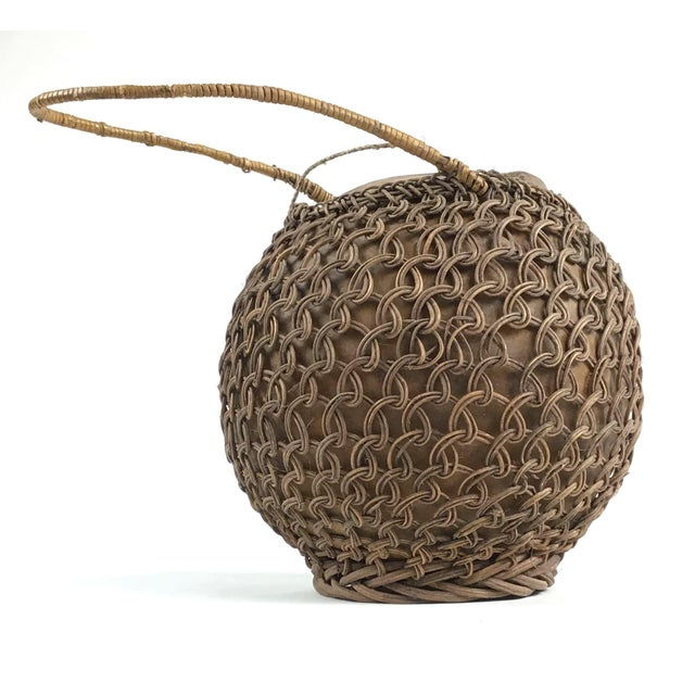 Primitive Javanese Hand Woven Covered Gourd Container For Sale In Boston - Image 6 of 11