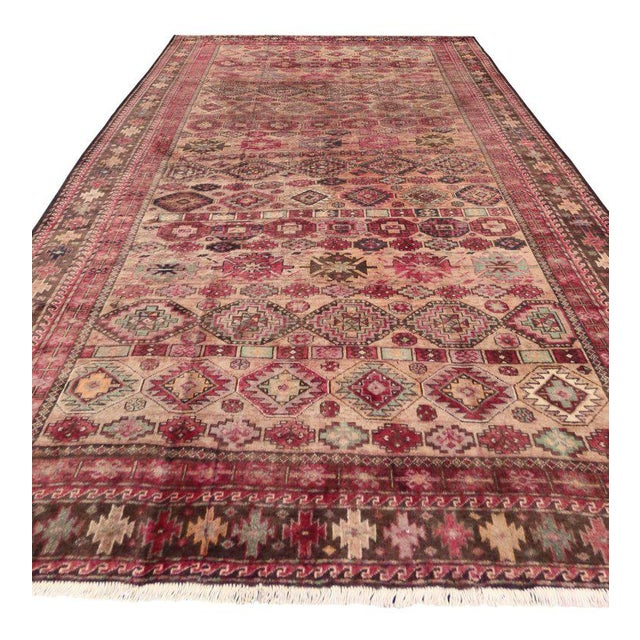 Contemporary Pink Vintage Persian Baluch Rug with Modern Tribal Style For Sale - Image 3 of 9