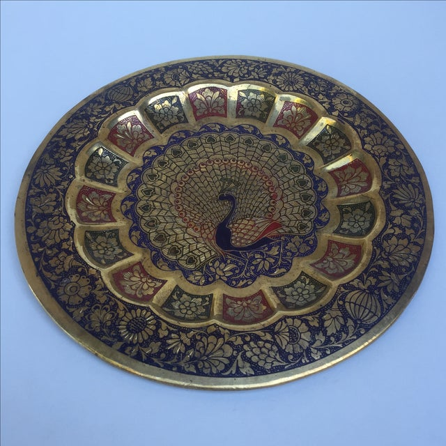 Metal Vintage Indian Peacock Plate Tray For Sale - Image 7 of 7