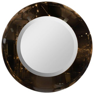 Modernist Smoked and Beveled Circular Mirror For Sale