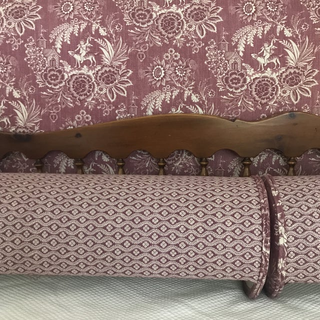 Purple Pierre Deux Floral Custom Neck Bolster Pillows - a Pair For Sale - Image 8 of 13