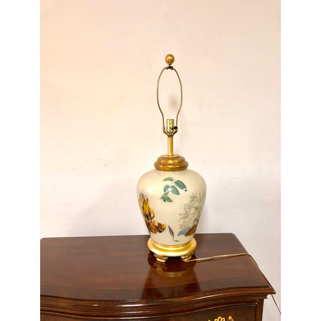 Late 20th Century Chinoiserie Style Floral & Botanical Table Lamp For Sale - Image 5 of 8