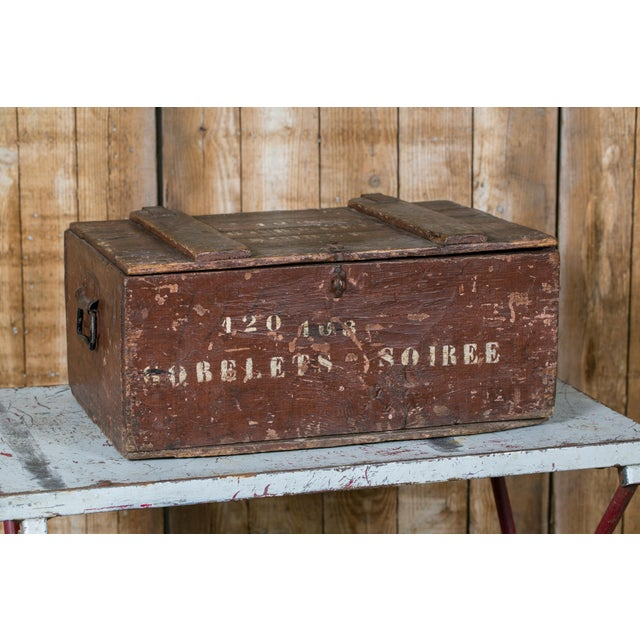 French Country Curious Stenciled Lidded Wooden Belgian Campaign Trunk with Blown-Glass Glasses, circa 1915 For Sale - Image 3 of 4
