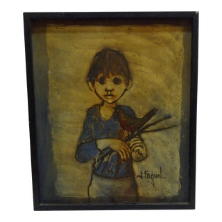 Original Framed Oil Painting Boy With a Bird by J. Faquet
