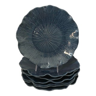 Portuguese Blue Cabbage Dinner Plates - Set of 7 For Sale