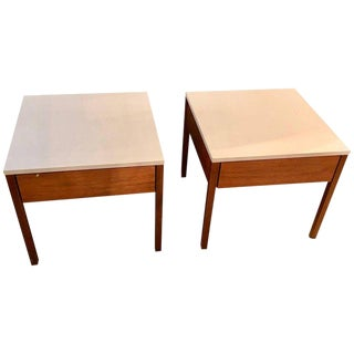 Pair of Mid-Century Modern Signed Florence Knoll Nightstands or End Tables For Sale