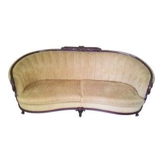 Mid Century Victorian Style Gold Velvet Sofa For Sale